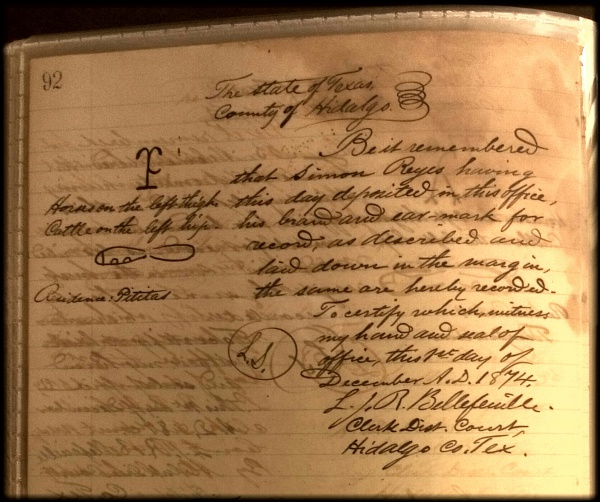 1874 Texas Cattle and Horse Brand Registration for  José Simon Reyes
